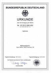 Deutsches Patent- und Markenamt: Urkunde zur Eintragung der Marke hypnovea