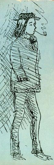 Arthur Rimbaud in un disegno di  Paul Verlaine (1872)