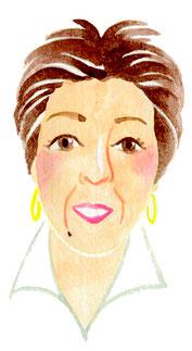 水彩風似顔絵イラスト、女性