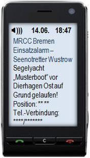 So könnte die Einsatzmeldung über Mobiltelefon aussehen (Beispiel für eine Alarm-SMS)