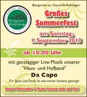 Großes Sommerfest am Sonntag, 01.September 2013