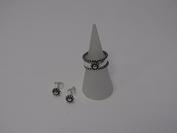 Zilveren ring bloem met oorstekers