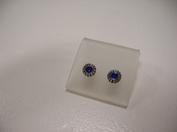 Zilveren oorstekers uv hars kobalt blauw