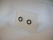 Zilveren oorstekers uv hars zwart wit