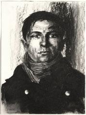 """Sergej"", Kohle auf Papier, 40 × 30 cm, 2020"