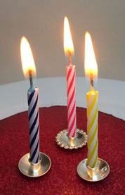 Birthday candle holders in in sterling silver, blow out the candles and make a wish.