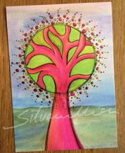 Postkarte, glänzend mit Illustration Pink Tree von silvanillion