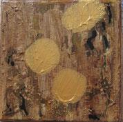 Nr. 2010-HO-35: 15 x 15 cm, Schiermehl, Rost, Acryl auf Leinwand