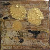 Nr. 2010-HO-36: 15 x 15 cm, Schiefermehl, Rost, Acryl auf Leinwand