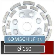 prodito slijpschijf om af te bramen of komschijf voor gebruik met een haakse slijper diameter 150 universeel steen beton en chape