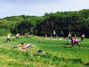 séance de bootcamp en plein air, circuit training , St Jean de Luz, St Barbe.