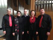 Bernhard Isenring (Bass), Mirjam Föllmi (Sopran), Roman Künzli (Orgel), Sybille van Veen (Alt) und Fabian Bucher (Tenor)