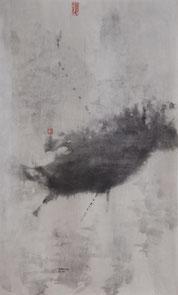 荷花44 LOTUS 44 82X51CM 纸本水墨与矿物色 INK & MINERAL COLOR ON PAPER 2004 (收藏于上海 COLLECTED IN SHANGHAI)