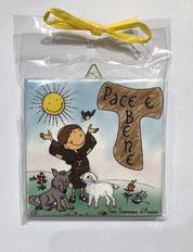 """Piastrella in ceramica da parete San Francesco """" Pace e Bene"""""""