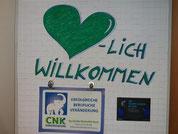 Herz als Bild gemalt, Schrift: LICH WILLKOMMEN