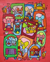 """""""der fährt wie ein Schwein"""",  Acryl auf Leinwand  24/30 cm September 2009"""