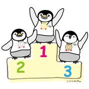 ペンギンとオリンピックのイラスト