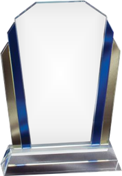 Blue and gold marquee glass award