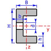 Querschnitt eines C- bzw. U-Profils mit Durchgangsloch
