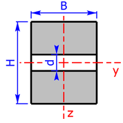 cross sectional area of a rectangle-section with clearance hole