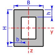 Querschnitt eines Rechteck-Hohlprofils (Formrohr)