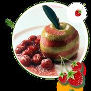 zuckerfreier Apfel in Kirschgrütze ohne Zucker, Obstdessert, Rezept ohne Zucker, zuckerfreies Obstdessert