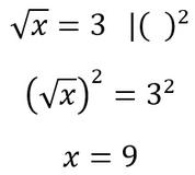 Beispiel für die Äquivalenzumformung mithilfe der Potenz