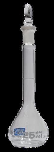 QR.134.236.04 Matraz volumétrico clase A en vidrio serializado y certificado con tapón de vidrio, 25 ml