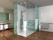 A custom Wedi Shower with bench. Wood tile floor with aqua and white shower tile.