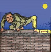 刑務所の塀に登った寅吉。あとは娑婆に跳び下りるだけ。そこに五寸釘が