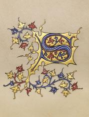 """Enluminure traditionnelle """"S"""" à la feuille d'or,  Or-et-Caractères"""