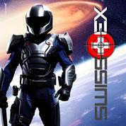 Weisser Knochenschädel auf schwarzem Grund mit Swisstex-Schriftzug