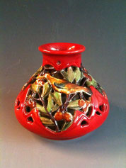 Zsolnay double walled vase, 1910s