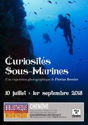 Curiosités sous-marines Expo photo Florian Bernier bibliothèque Chenôve