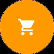Icono de carro de compra blanco sobre circulo naranja