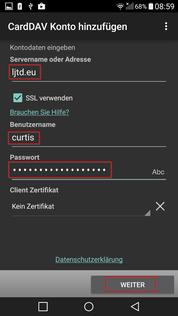 CardDAV Logindaten eingeben
