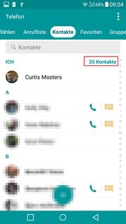 Kontakte App Account gewählt