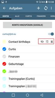 aCalendar+ Aufgaben Kalender verbergt