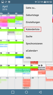 alternativer Kalender aCalender Liste