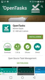 Aufgaben App OpenTasks installieren