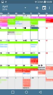aCalendar+ Aufgaben Kalender-Ansicht