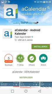alternativer Kalender aCalender installieren