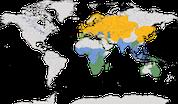 Verbreitung der Gattung Rohrsänger (Acrocephalus)