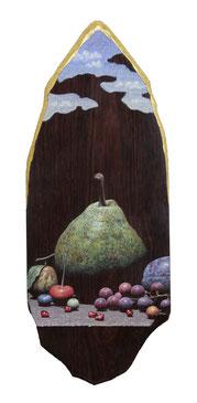「記憶の証明」27.5×11.0㎝テンペラ、油彩、木、箔、194400円