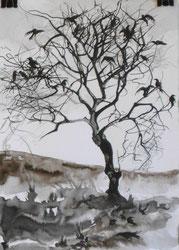 """""""Krähenbaum"""", Tusche, A4, 2013"""