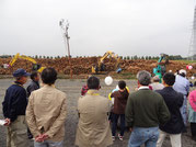 工場見学 伐採の実演