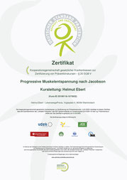 Zertifikat progressive Muskelentspannung - Zentrale Prüfstelle Prävention