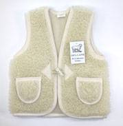 gilet enfant en laine naturelle de mouton mérinos doux nounours only mouton 2 ans cardigan berger lavable machine marron blanc lainé
