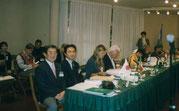 写真4:1997年10月アルゼンチンでのIFLA大会 マルデルプラータ 左から杉尾、町田、一人あいて故ミラー