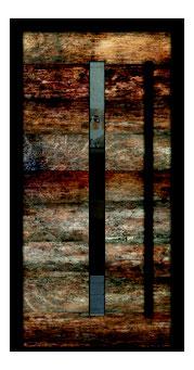 Keramiktür in Holzoptik mit Lichtdurchlässen links
